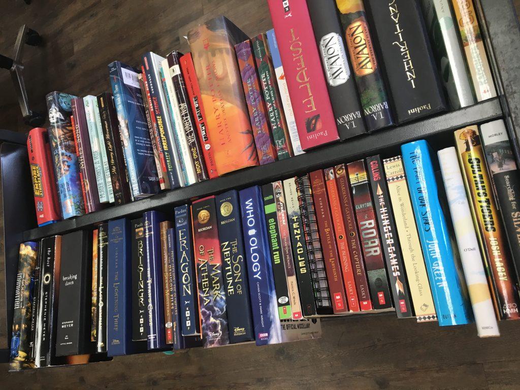 YA books on a cart