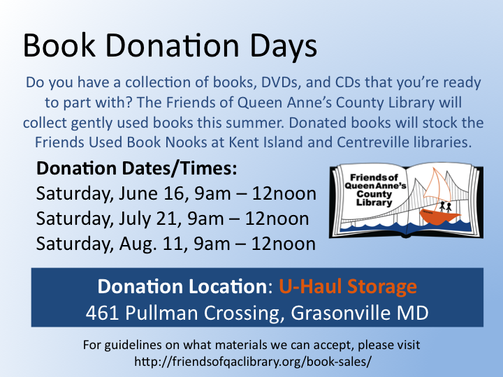Book Donation Day August Friends Of Queen Anne S County Library